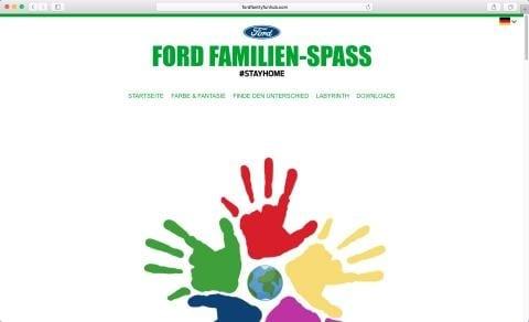 Ford-Webseite mit Mal- und Denksportaufgaben für alle,  die mit Kindern zu Hause bleiben